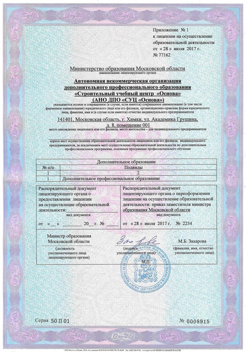 Приложение к образовательной лицензии АНО ДПО «СУЦ «Основа»