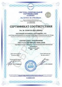 Образец сертификата ISO 45001:2018
