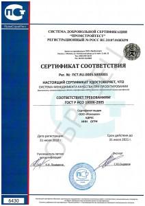Образец сертификата ГОСТ Р ИСО 10006-2005