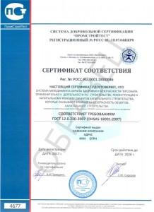 Образец сертификата соответствия ГОСТ Р 12.0.230-2007 (OHSAS 18001:2007)