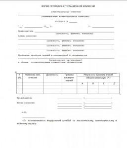 Протокол заседания аттестационной комиссии территориального управления Ростехнадзора