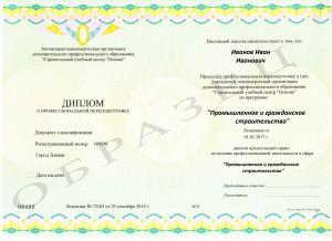 Образец диплома о профессиональной подготовке