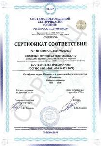 Образец сертификата ГОСТ ISO 14971-2011 (ISO 14971:2007)